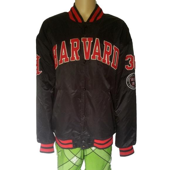 Stall /& Dean Mens Harvard Varsity Jacket 4XL Crimson Black Red Spell Out Ivy League Bomber